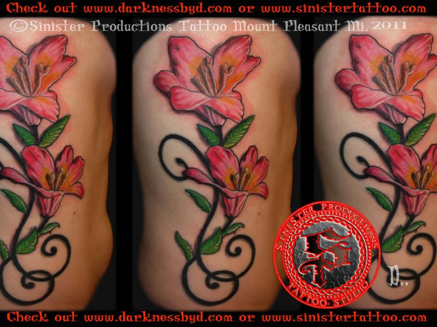 Color lily flower side tattoo