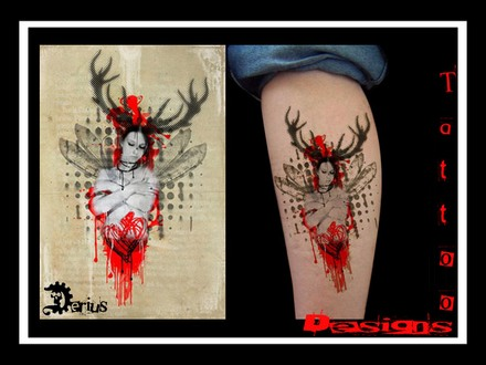 Picture 18 of 28 from Black Red Stains Dots Tattoo Designs
